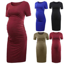 2018 Summer Maternity Short Sleeve Midi Pencil Dress For Women O-Neck Casual Pregnancy Clothing Wear Bodycon Dress(China)