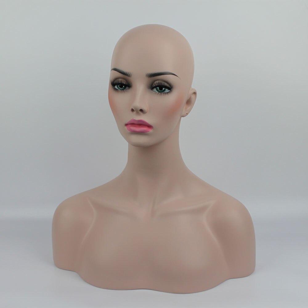 En fiber de verre Réaliste Femelle Mannequin Mannequin Mannequin Tête Buste Pour Chapeau Lunettes De Soleil Bijoux Perruques Affichage
