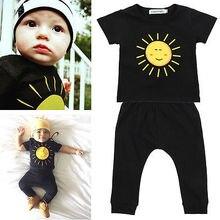 Newborn Toddler Kids Baby Boys Girls Outfits Clothes Cartoon Shirt Tops+Black Pants 2PCS Set