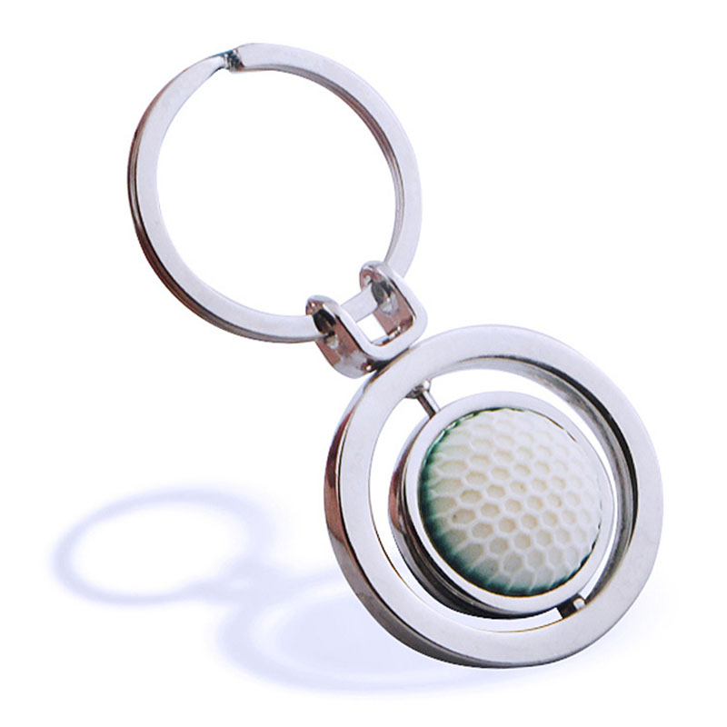 Factory direct creative beautiful rubber metal rotating golf key chain fashion advertisi ...