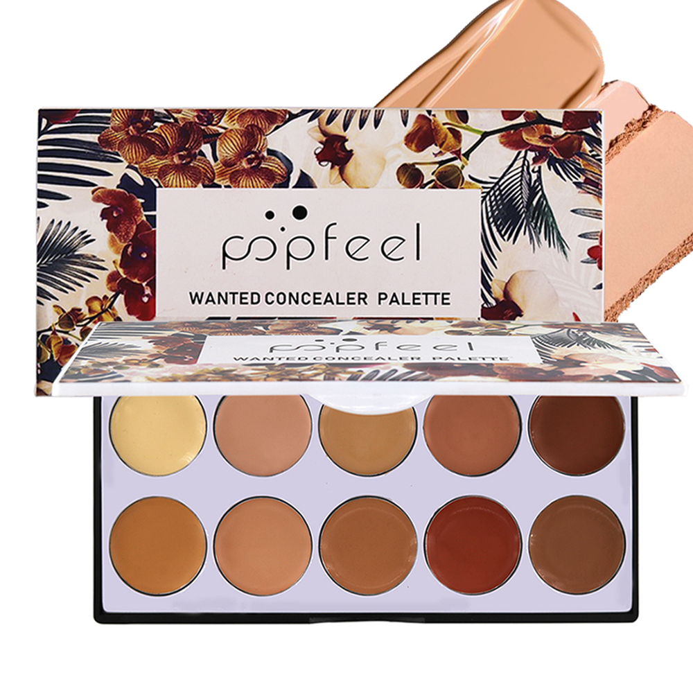 Popfeel Concealer Palette Long Lasting 10 Colors Foundation Makeup Contouring Facial Hide Blemish Cosmetics