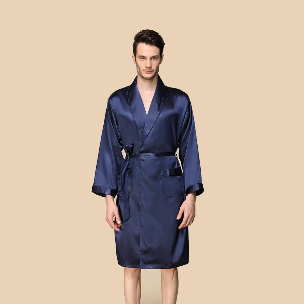 Mens Silk Satin Robe Nightgown Long Robes Bathrobe Pajamas Summer Black 5XL