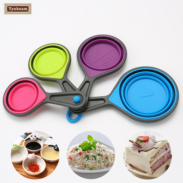 4pcs Set Silicone Collapsible Measuring Cups Spoons 4 Pc Folding Multi