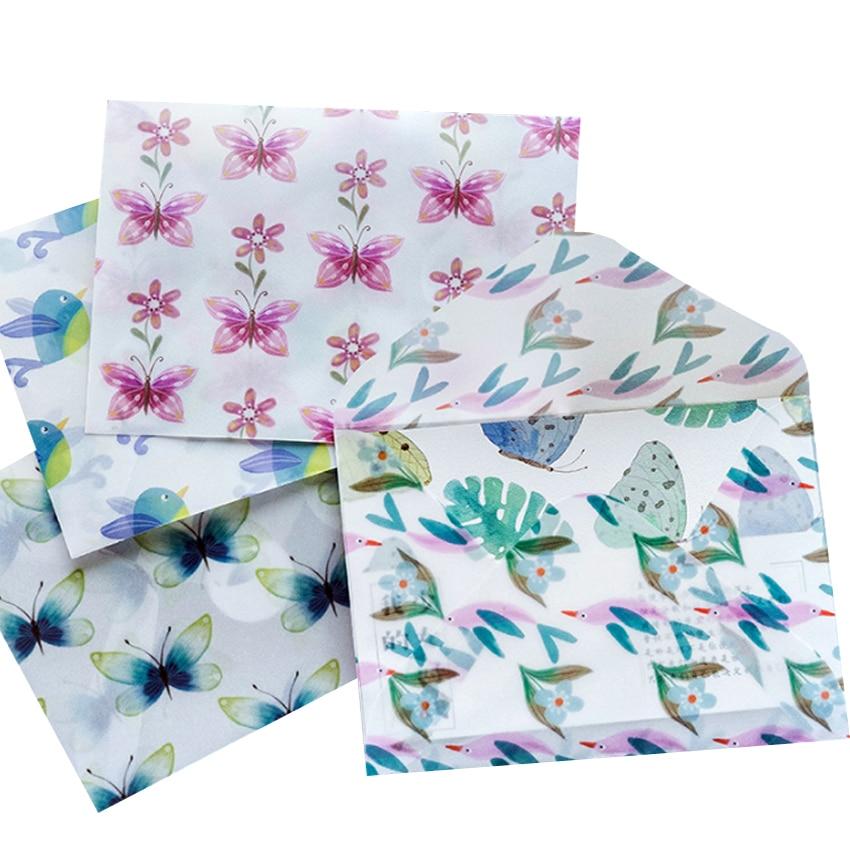 3pcs/lot Cute Butterfly Blue Bird Sulfuric Acid Paper Envelope School Supplies Envelope For Wedding Letter Invitation