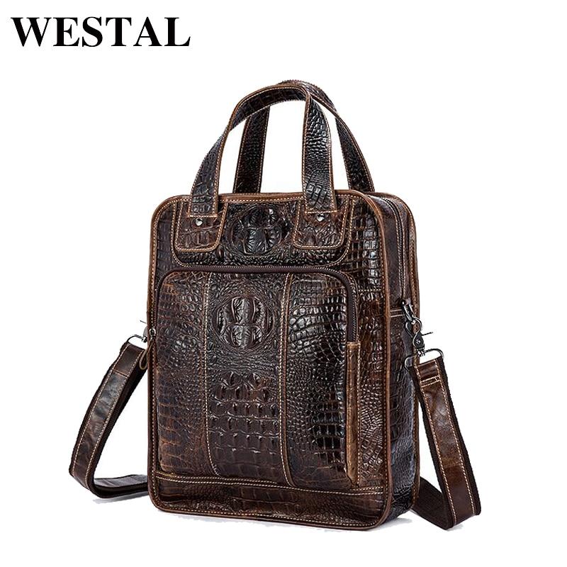 WESTAL Genuine <font><b>Leather</b></font> Men Bag New Designer Male Shoulder Crossbody bags laptop tote men briefcases <font><b>Leather</b></font> messenger Bag 9909