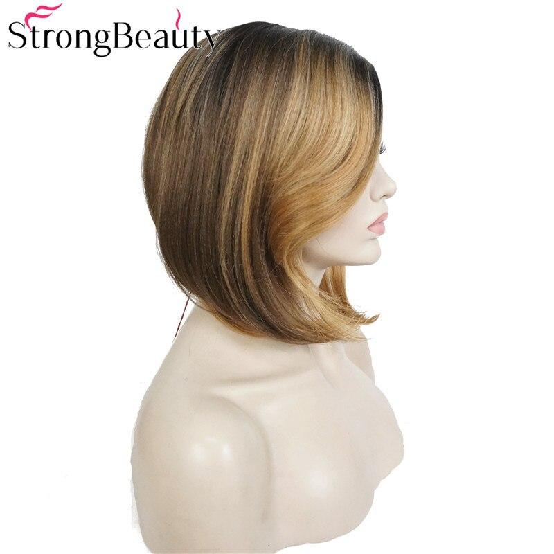 StrongBeauty Bob Lace Wig Συνθετικές Straight Ombre - Συνθετικά μαλλιά - Φωτογραφία 2
