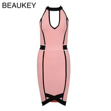 Halter Neck Sleeveless 2017 Summer New Arrival Keyhole Striped Rayon Sexy Mini Bandage Dress Pink