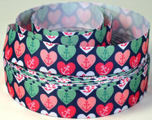 """New Arrival 50yards/lot 1""""25-26mm Anchors and Hearts Printed Nautical Grosgrain Ribbon"""