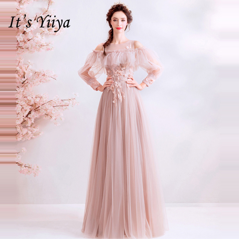 It's YiiYa Prom Gowns O-neck Full Sleeves A-Line Beading Floor Length Long Party Dress Custom Plus Size Prom Dresses 2019 E257