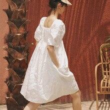 LANMREM новая летняя и осенняя мода женская одежда с рукавами Хаббл пузырь квадратный воротник фонарь рукав пуловер платье WH512