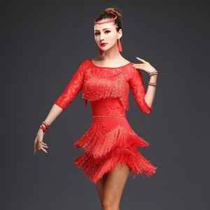 Image 2 - Neue 2018 Frauen Wettbewerb Tanz Kleidung Pailletten Kostüm Set Fringe Salsa Kleider Ballroom Dance Damen Latin Kleid