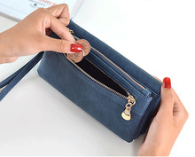 Wholesale Brand Wallet Women Double Zipper Female Clutch Purse Froasted PU Leather Money Case Coin Pocket Card Holder