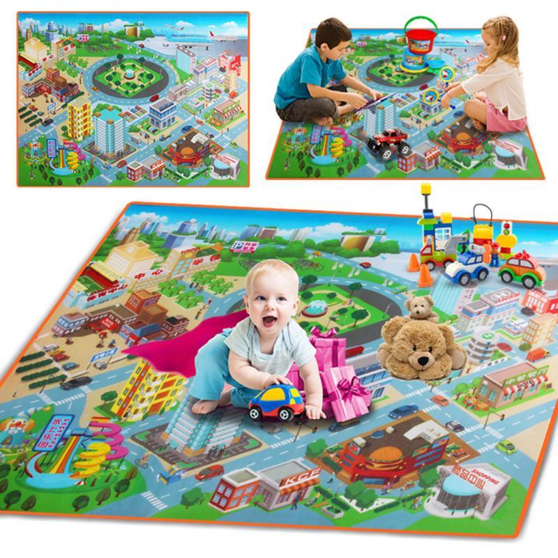 Baby Spielen Matte Kinder Route Karte Stadt stadt Erkenntnis Krabbeln Pad 120 CM Wasserdichte Faltbare Klettern Kinder Teppich Im Freien Spielzeug matte