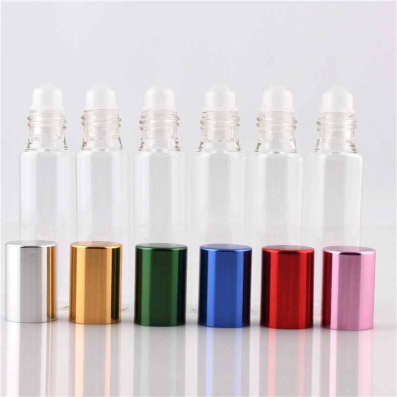XYZ 10ML (50pieces/lot) 6 COLOR High Quality GLASS Roll on Bottles 10CC Mini Essential Oils Glass Roller Sample Bottle Wholesale