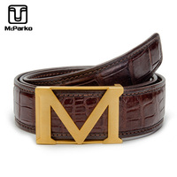 McParko Genuine Leather Crocodile Belt Men Luxury Brand M Buckle Alligator Belt Brown Business Man Belts Birthday Gift for Male