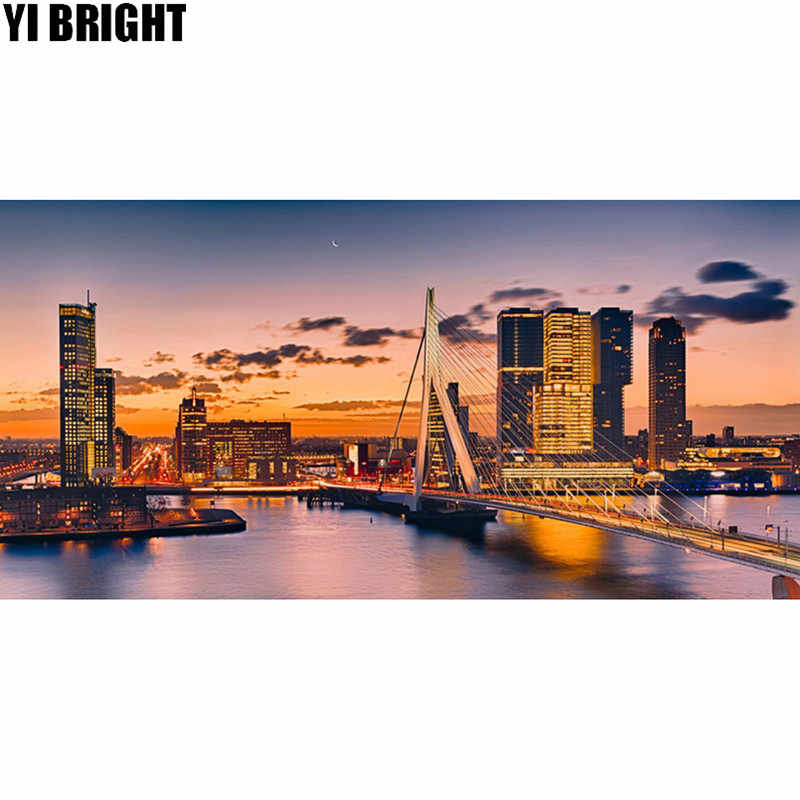 5D DIY Diamond embroidery Rotterdam Bridge diamond painting Cross Stitch full square Rhinestone mosaic home decoration
