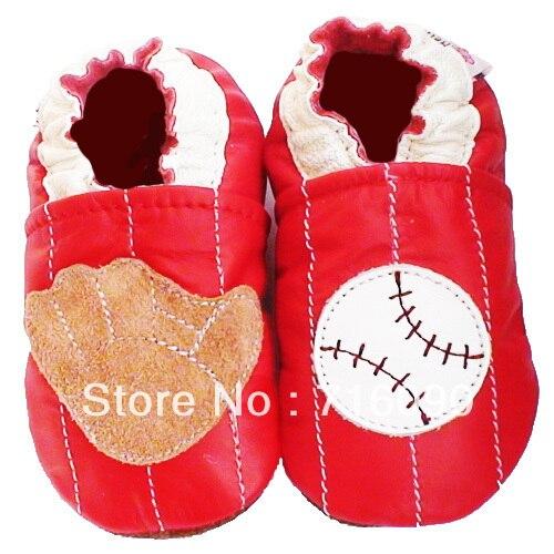 Envío gratis 8 par/lote garantizado 100% suela blanda zapatos de bebé de cuero b