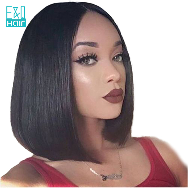150% Density Short BOB Wig With Bleached Knots Brazilian Remy Hair 8-16  Inch Straight Lace Front Human Hair Wigs With Baby Hair 00bc407d2