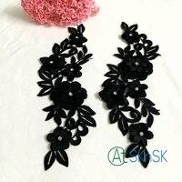 5 cặp/lô 24x7 cm đen màu hoa cotton và nylon thêu sew trên miếng vá may mặc trang trí diy đính a2