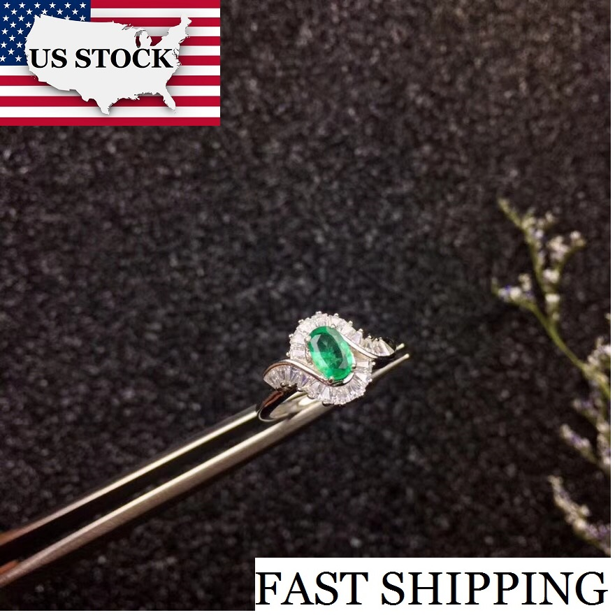Uloveido Natural Emerald Ring 925 Sterling Silver High Quality Green Gemstone Rings Birthstone Wedding Promise Jewellery