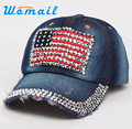 Brand new Fashion Women Diamond Baseball Cap Summer Style Lady Jeans Flat Snapback Hat Gift 1pcs