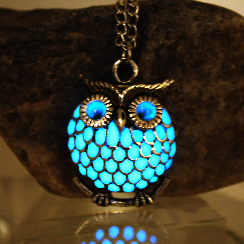 NEW The owl Luminous Necklace Hollow owl Necklace GLOW in the DARK night luminous gift women necklace