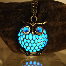 NEW The owl Luminous Necklace Hollow owl Necklace GLOW in th