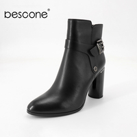 BESCONE 2019 New Autumn Sheepskin Lady Boots Pointed Toe Polished Square Heel Shoes Fashion Metal Buckle Basic Women Boots L9