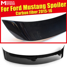 For Ford Mustang Rear Spoiler Vertical-Style High-quality Carbon Fiber Rear Trunk Spoiler Wing Lip car styling Accessories 15-16 voe mustang carbon fiber gloss black car styling rear trunk wing spoiler for ford mustang 2015 2016 2017