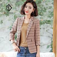 2019 New Women's Top Plaid Blazer Jacket Single Button Three Quarter Notched Female Work Office Lady OL Coat Hot Sales C96103Z