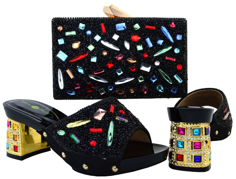 ФОТО Black Shoes and Bag To Combine Italian Design Party Nigerian Shoe and Bag Set Women Shoe and Bag Set Italy Fashion Shoe  BCH-18