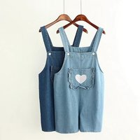 New School Of Wind Loose Overalls Female Summer Shorts Embroidery Love Was Thin Piece Pants Suspenders