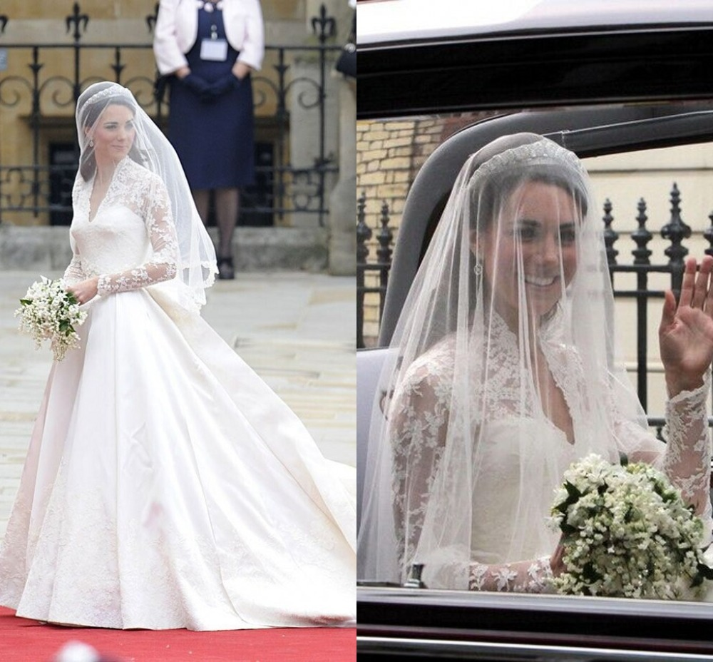 Kate Middleton Wedding Veil 2T Bridal With Lace Edge Accessories White Exquisite Appliques Bridesmaid In Veils From Weddings