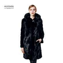 HUANHOU QUEEN real mink fur coat for women's  with  full pelt hood ,thick warm slim fashion,90cm length full sleeves.