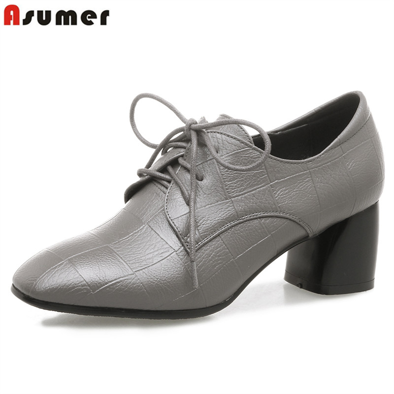 ASUMER 2018 new spring high heels pumps women shoes pointed toe solid color pu leather square heel red black gray dress shoes new arrival multi ab color wedding shoes women s pumps luxury crystal shoes pointed toe square heel sheepskin real leather shoes