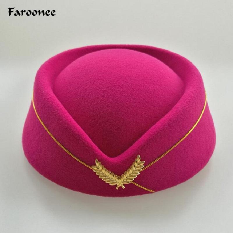 Hot Sale Wool Felt Pillbox Air Hostesses Beret Hat Base Cap Airline Stewardess Sexy Formal Uniform Hat Caps Accessory(China)
