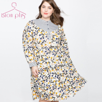 Women Dress 5XL 6XL 7XL Shirt Dress Autumn Plus Size Dress Little Flower Print Office Lady's Dresses New In Vestidos Mujer 2018