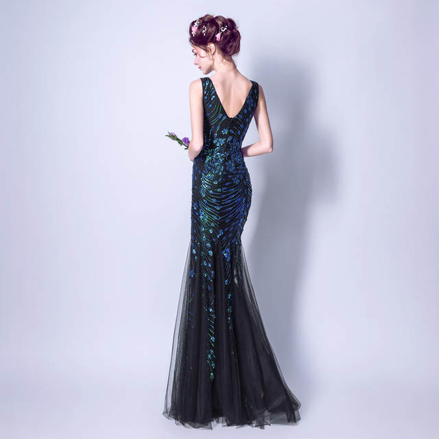 Online Shop Dark Blue Long Evening Gowns Sequined Bling Trumpet Prom  Dresses Deep V neck Mermaid Formal Gowns 2017 Open Sexy Girl Photo  3c19f7a2c63f