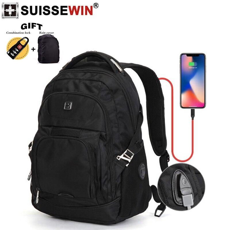 Bagaj ve Çantalar'ten Sırt Çantaları'de 2019 yeni İsviçre marka siyah paketi dizüstü naylon sırt çantası şarj sırt çantası su geçirmez laptop çantası erkekler ve kadınlar için kese dos femme'da  Grup 1