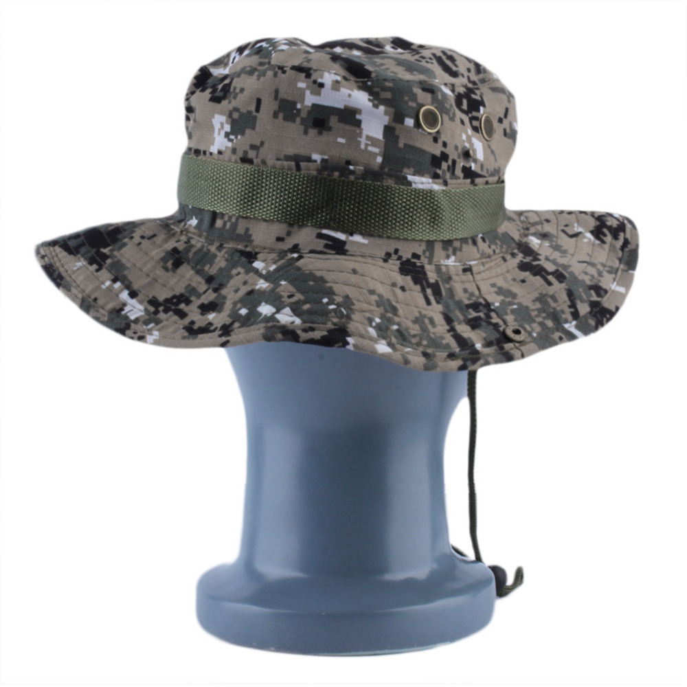 837dcd51a4b Military Army Jungle Camo Boonie Bucket Cap Hat Fishing Sun Caps 2016  Fashion Drop Shipping Camouflage hats-in Military Hats from Apparel  Accessories on ...
