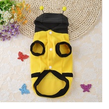 80pcs/lot Pet Dog Cat Bumble Bee Wings Fleece Hoody Coat Costume Puppy Clothes WA0784