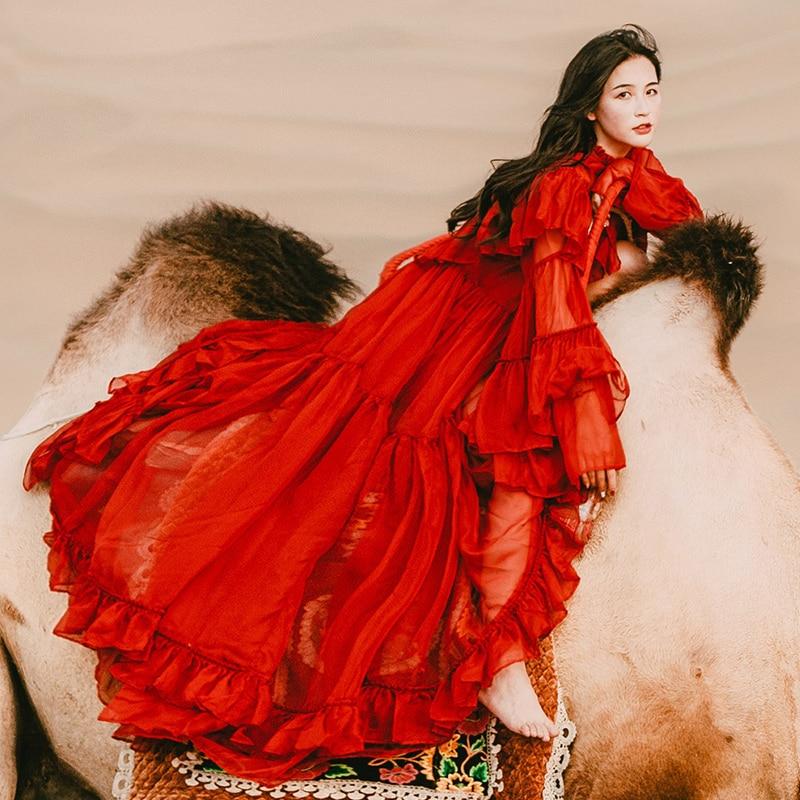 YOSIMI 2019 été femmes robe dames robe de soirée Maxi en mousseline de soie longue robe à manches longues rouge femme robe de soirée robe de boîte de nuit - 5