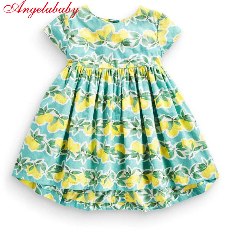 New fashion kids girls clothing summer floral dress baby girl's printed fruits zipper dresses children cotton clothing hot sale luoyamy new arrival baby girls summer banana printed dress kids fashion beach clothes children outdoor o neck clothing
