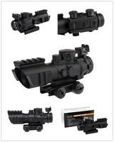 Tactical 4X32 Compact Rifle Scope W/ Tri Illuminated Reticle Optic Sight Airsoft Hunting Riflescope