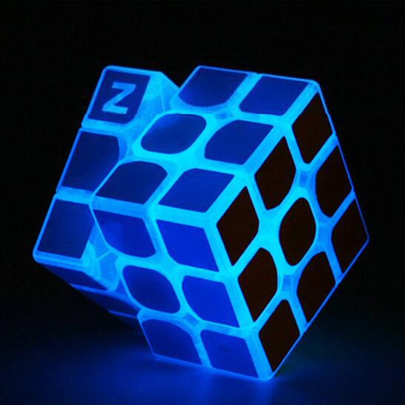ZCUBE Glow In The Dark Magic Cube 3x3x3 Matte Sticker Blue Luminous Puzzle Cube Children's Transparent Racing Competition Cube
