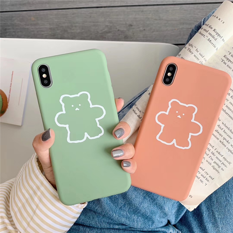 Korean cute bear scrub silicone soft phone case for iphone7 7plus Jelly candy cover iphone 7 8plus 8 6 6s plus x xr xs