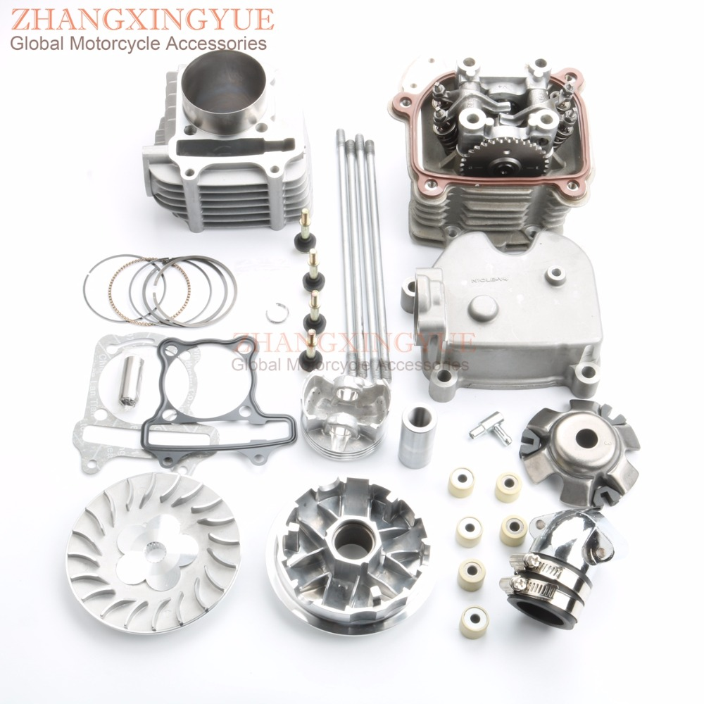Image 2 - 61mm 4 Valve / 4V Large Bore Performance Kit & Drive Assembly & +3mm Crankshaft for GY6 GP110 125 150 Upgrade to 180cc 157QMJ4 valvebore kitgy6 180cc kit -