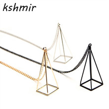 Stylist extremely simple 3 d hollow out geometric frame metal necklace The girl beautiful black Fashion triangle