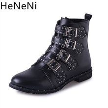 Купить с кэшбэком New Women's Leather Boots Ankle Motorcycle Rivets Women boots Fashion shoes Women Autumn Winter Punk boots Shoes