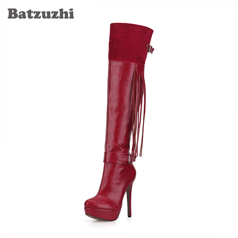 Batzuzhi Handmade High Quality Women Boots Wine Red Knee-high Platform High Heels Boots Leather with Tassels Botte Femme, 43